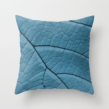 Blue Leaf Throw Pillow by ARTbyJWP