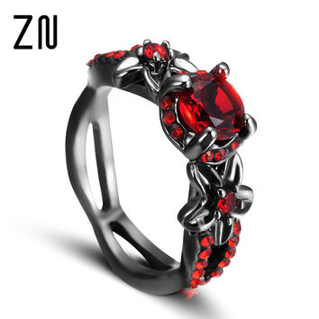 Fashion Flower Shiny Red Ring Red Garnet Women Charming Engagement Jewelry Black Gold Filled Promise Rings Bijoux Femme