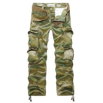 new 2017 spring and autumn fashion multi-pocket solid color comfortable washing men's casual tooling camouflage trousers