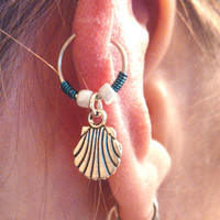 Silver Clam Shell Cartilage Hoop Beaded Teal Earring Boho Tragus Helix Piercing