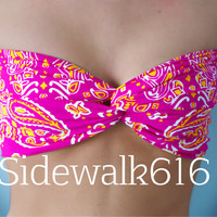 Pink Orange Floral Print Bandeau Top Spandex Bandeau Bikini Swimsuit