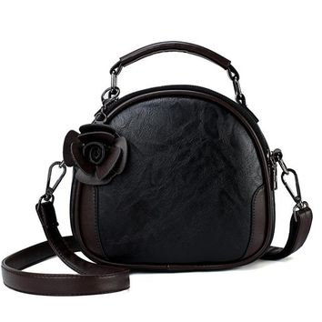 Family Friends party Board game Sweet New Lace Round Handbags High Quality PU leather Purse Korean Women Crossbody Bags Female Small Fresh Flower Shoulder Bag AT_41_3