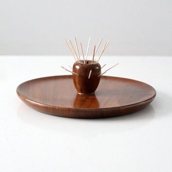 SALE mid century wood tray, walnut hors d'ouevre serving tray