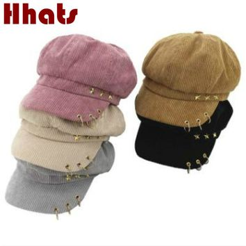 which in shower plain star ring corduroy newsboy cap fashion female winter cap bone lady octagonal hat casual autumn beret women