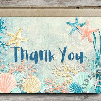 Under the Sea Party Thank You Card Printable, Nautical Beach Theme Baby Shower Birthday Party, 4x6 Sea Party Mermaid Party, Coral Mint Gold