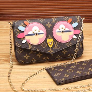LV Women Shopping Leather Satchel Shoulder Bag Crossbody Wallet Two piece Set