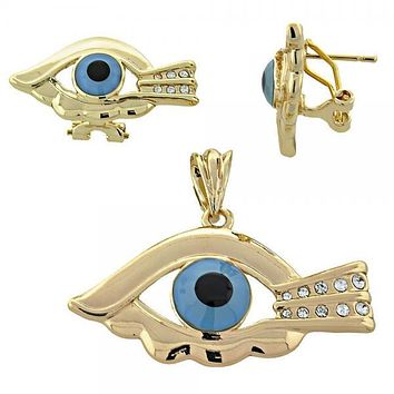 Gold Layered 10.91.0252 Earring and Pendant Adult Set, Greek Eye Design, with  Crystal, Multicolor Polished Finish, Gold Tone
