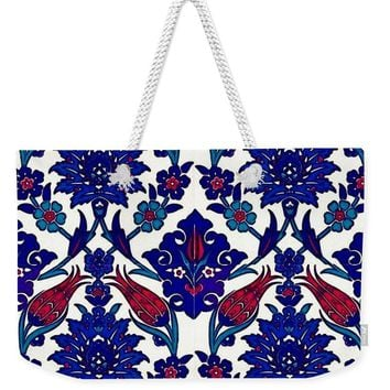 An Ottoman Iznik Style Floral Design Pottery Polychrome, By Adam Asar, No 39a - Weekender Tote Bag
