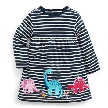 Littlemandy Girls Dress Dinosaur 2018 Autumn New Princess Dresses For Girl Kids Baby Girl Clothes Long Sleeve Baby Girl Clothes