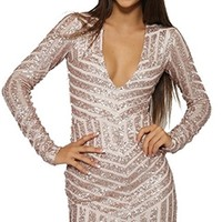 Champagne Toast Beige Sequin Long Sleeve V Neck Bodycon Mini Dress