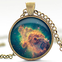 Nebula Necklace, Space Galaxy Art Pendant,  Nebula Jewelry, Universe Stars Gift for Him or for Her (307)