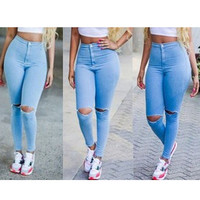 Fashion Summer Women Jeans Pencil Pants 2015 New Mid Full Length Sexy Hole Skinny High Waist Jeans Trousers Plus Size DE11201Z