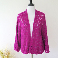 Fushia angora sweater, fine hand knit cardigan shrug, large outerwear