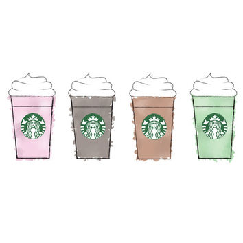 Watercolor Frappuccinos Art Print by KJ53321 | Society6