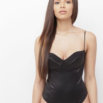 MONI BUSTIER SATIN BODYSUIT - BLACK