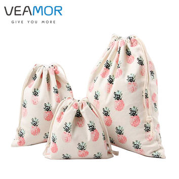 VEAMOR Brand Gift Bags for Children Cotton Canvas Pouch Drawstring Pineapple Printing Small Candy Storage Bags 3pcs/set B163