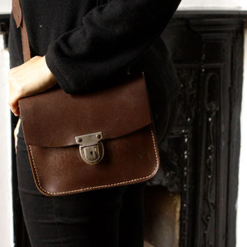 Vintage Leather Messenger Bag - Small Leather Satchel - Work Bag