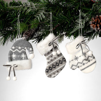 Warm Winter Christmas Mitten, Hat and Stocking Knit Ornament Set of 3