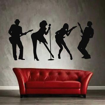 ik2608 Wall Decal Sticker rock band guitar heavy lounge music store
