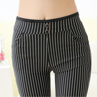 New Fashion 2017 Spring Summer Stripes Ankle-length Pants Trousers Women Skinny Elastic Waist Pencil Pants Pantalon Femme