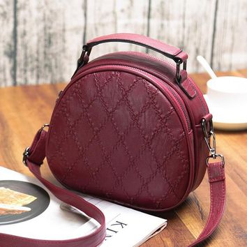 Women Shell Soft Leather Small Incense Lingge Shoulder Bags