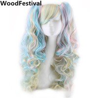 Two Ponytails Synthetic Wig With Mixed Colors - Cosplay Wigs For Women