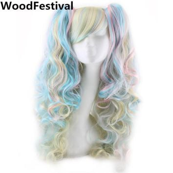 WoodFestival Two Ponytails Synthetic Wig With Mixed Colors - Cosplay Wigs For Women