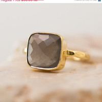 CLEARANCE - Grey Chalcedony Ring - Gemstone Ring - Gold Ring - Bezel Ring - Stackable Ring