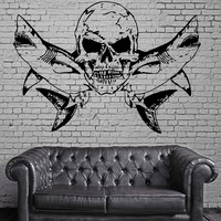 Sharks and Skull Scary Marine Animal Decor Wall Mural Vinyl Art Sticker Unique Gift M359