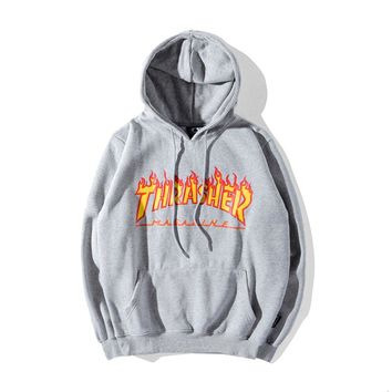 Thrasher Autumn and Winter Tide brand classic flame print letter hooded sweater Grey