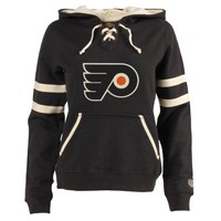 Philadelphia Flyers Old Time Hockey Women's Grant Lace-Up Slim Fit Hoodie - Black