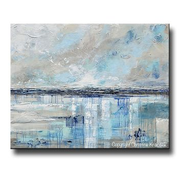 GICLEE PRINT Art Abstract Painting Beige Grey Light Blue Navy Beach Coastal Wall Art Home Decor
