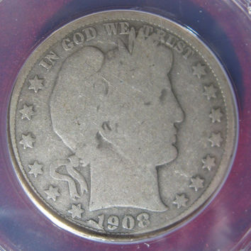 Silver Coin, Silver Half Dollar,1908 USA, Barber Half, Coin,ANaCS Graded,Collectible 50 Cent Silver Coin, Collectible Coin, Half Dollar Coin