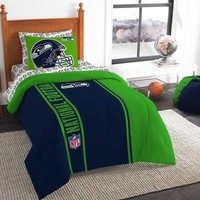 Licensed Official 5pc NFL Seattle Seahawks Bedding Set Comforter Pillowcase Sheet Set Twin Size