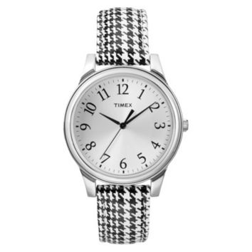 Women's Timex Weekender™ Houndstooth Pattern Leather Strap Watch - Black/White/Silver