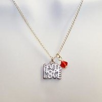Silver Faith, Hope, Love Sterling Silver Chain