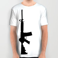 AR15 in black silhouette on white All Over Print Shirt by Retro Designs | Society6