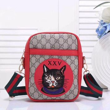 Gucci Tide Brand Fashion Cartoon Animal Women's Leather Cross Body Bag F