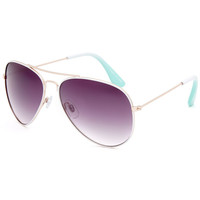 Full Tilt Ombre Temple Aviator Sunglasses Mint One Size For Women 25783052301