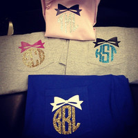 GLITTER BOW MONOGRAM Heat Press Pocket Tee - Short Sleeve - Sorority Gift - Bridesmaid Gift