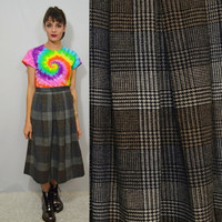 90s plaid Skirt vintage Small 26 Tea Length Hipster Soft Grunge Womens Clothing Dark Brown Gray Tan Tartan 1990s Winter Skirt Fall Autumn
