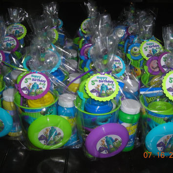 5 Filled Monsters University Inc. Treat Goodie Favor Party Bags Birthday Boys Mike Sulley Candy Bubbles Frisbee