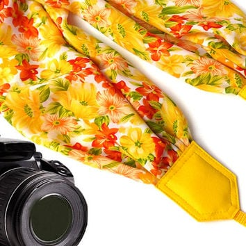 Yellow scarf camera strap. Flowers Camera Strap. Camera accessories. Camera strap for Canon, Nikon, Fuji & other cameras. Graet gift.