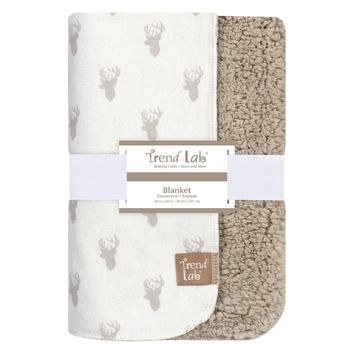 Gray Stag Head Flannel and Faux Shearling Blanket