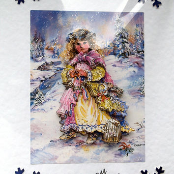 Christmas Card - Happy Christmas Hand-Crafted 3D Decoupage Card - Happy Christmas (1783)