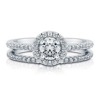 Round Cubic Zirconia CZ 925 Sterling Silver 2-Pc Halo Ring Set 0.46 Ct #r766