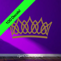 Golden Tiara Wall Decals 100 Count Gorgeous Look Great on a Dark Purple Wall Stickers Wallpaper Design Crown Gold Metallic