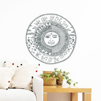 Wall Decal Vinyl Sticker Decals Art Home Decor Mural Quote We live by the sun We feel by the moon Stars Ethnic Symbol Sunshine Bedroom AN215