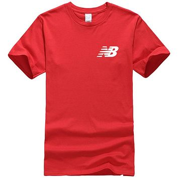 New Balance Fashion New Bust Letter Print Women Men Leisure Top T-Shirt Red