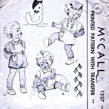 McCall 1237 Toddlers' Creeper Romper Suit. 1940's Vintage Sewing Pattern. Unused Applique. Rare. Size 2